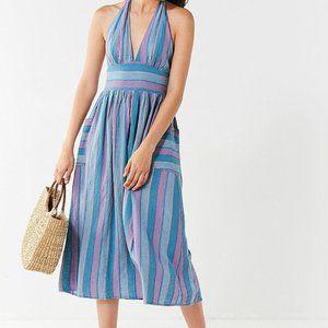 Urban Outfitters linen blend halter midi dress